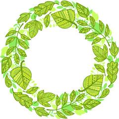 Circle garland of decorative green leaves