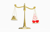 scales with gold and hearts that outweigh poster