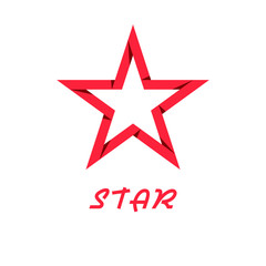 Red star of paper, design logo, web icon