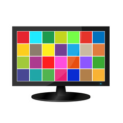 Realistic lcd monitor with colored squares