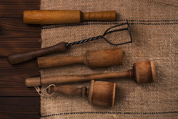 real vintage wooden and iron mashers