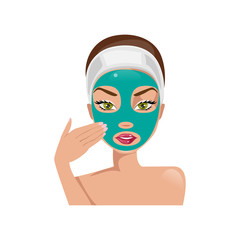 Female face with a mask. Vector illustration