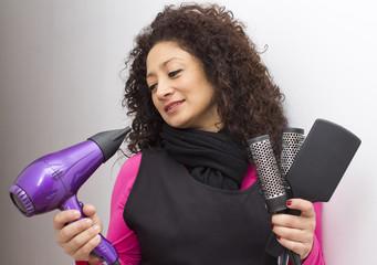 Latin woman drying her hair