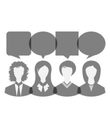 Icons of business women with dialog speech bubbles, copy space f