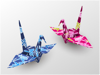 Origami cranes with bamboo texture