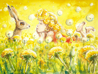 Cute girl with bunny on a dandelion meadow. Watercolors.