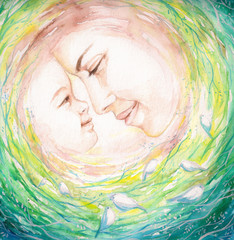 Mother and child.Watercolors.