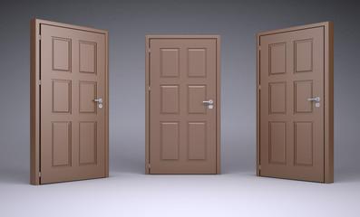 Three brown 3d door locks and doorhandle