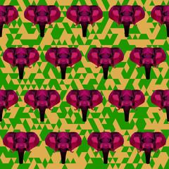abstract geometric polygonal elephant seamless pattern backgroun