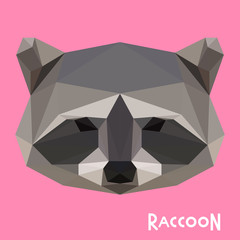 Polygonal abstract geometric raccoon background