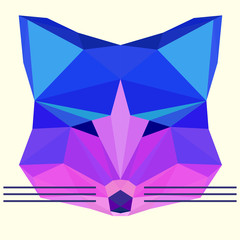 Bright colored abstract polygonal geometric fox background
