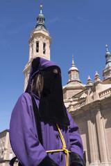 Penitent at the Basilica del Pilar. Zaragoza. Spain