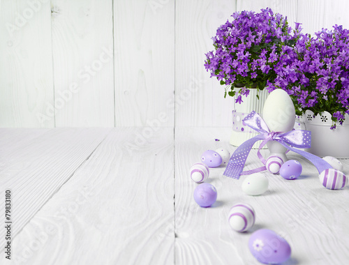 Easter eggs on wood table - 79833180