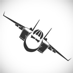 Label with military aircraft. Vector