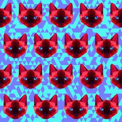 polygonal geometric abstract  siamese cat seamless pattern backg