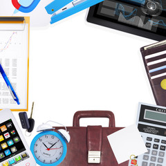 Various office supplies and tools on table