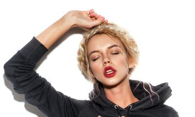 Fashion Stylish Beauty Portrait. Beautiful Girl's Face Close-up.