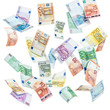 Euro Geldscheine vor weißem Hintergrund - 79834159