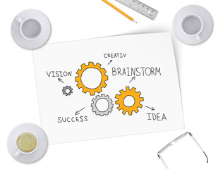 Gears in form of ideas for business