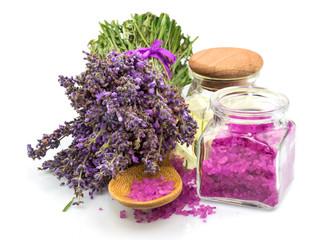 Spa natural product, lavender, oil, aroma salt