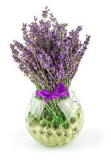 Lavender natural flowers in bowl with water balls