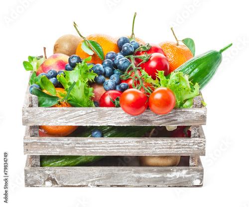 Fotobehang Groenten Kiste mit Obst und Gemüse