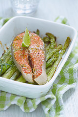 Baked red salmon with asparagus