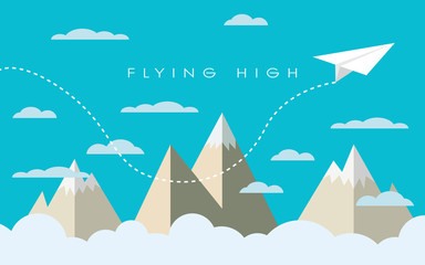Paper plane flying over mountains between clouds. Modern