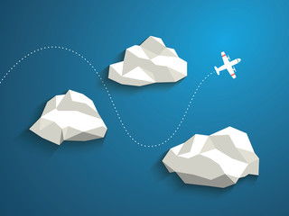 Plane and low polygonal clouds on blue sky. Infographics or