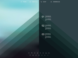 Vector website template with graphic user interface also for