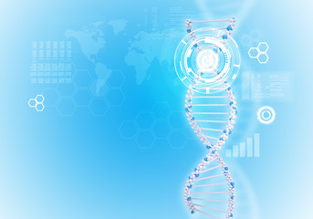 Human DNA. Background of white ring with hexagon and world map