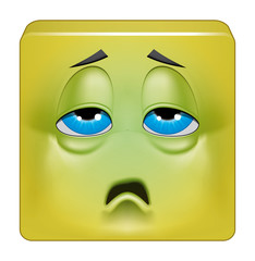 Square emoticon sick