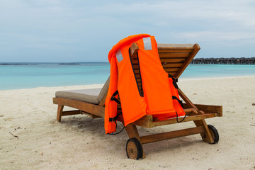 life jacket on chair
