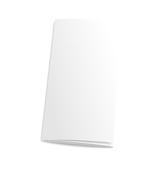 Blank trifold paper brochure. on white background with soft