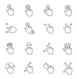 Touch Gestures Icons outline on white background