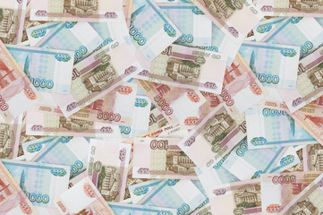 Background from a variety of Russian banknotes..