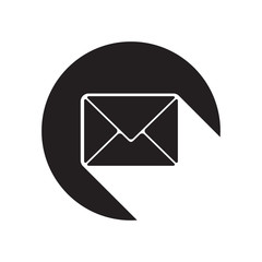black icon with mailing envelope and stylized shadow