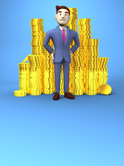 Smile Businessman With Coins On Blue Text Space