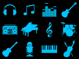 Musical art silhouettes