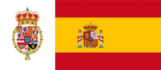 Spanish flag with emblem of Philip VI
