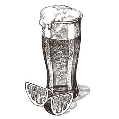 glass of beer on a white background. sketch