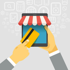 Digital commerce illustration. Online shopping with modern devic
