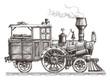 retro train on a white background. sketch - 79838118
