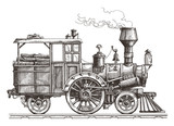retro train on a white background. sketch