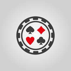 The casino chip icon. Casino Chip symbol. Flat