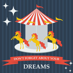 illustration with cartoon horses on dreams carousel, flat style