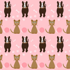 funny cartoon seamless dog and cat pattern on  pink  cover