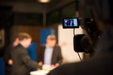 Nahaufnahme Videokamera bei Fernsehproduktion