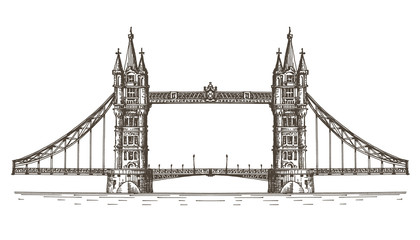 England, London, the bridge on a white background. sketch