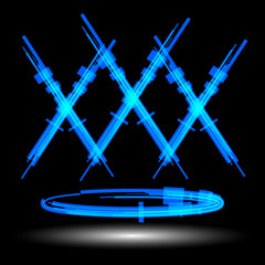 The letter X with glow effect. Raster 8